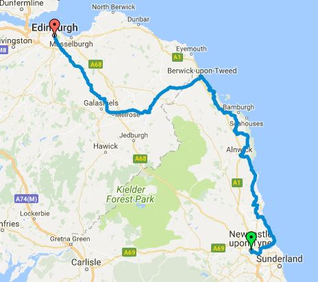 Coast and Castles cycling route map