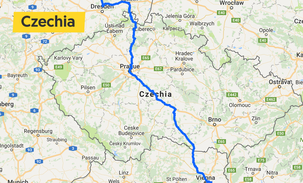 Czechia cycling route map