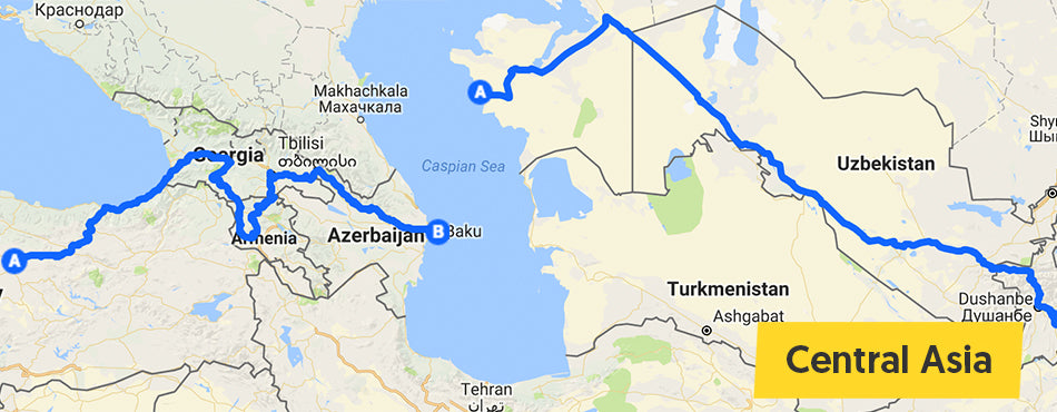 map of Frances' ride in Central Asia