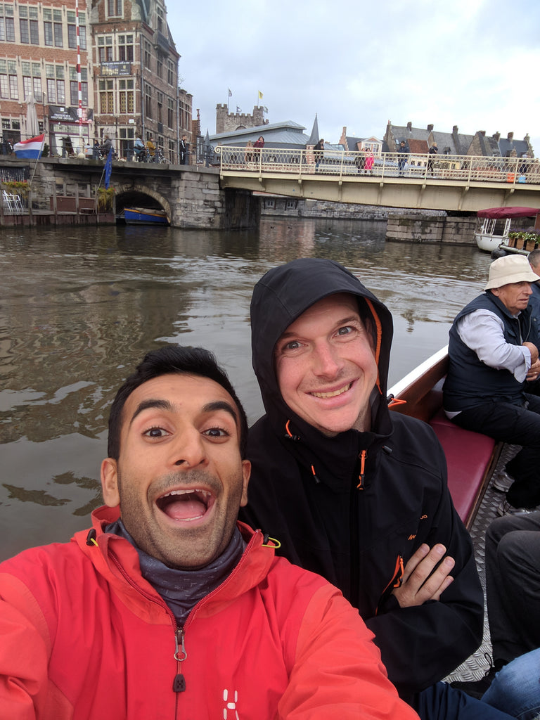 Ghent to Antwerp chet and his friend in a boat