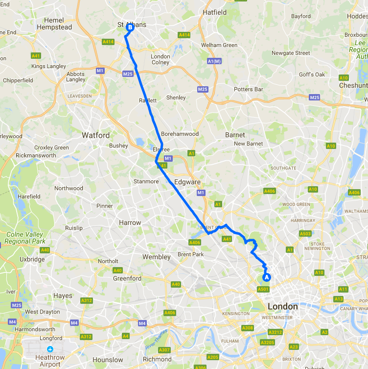london to St. Albans cycling route map