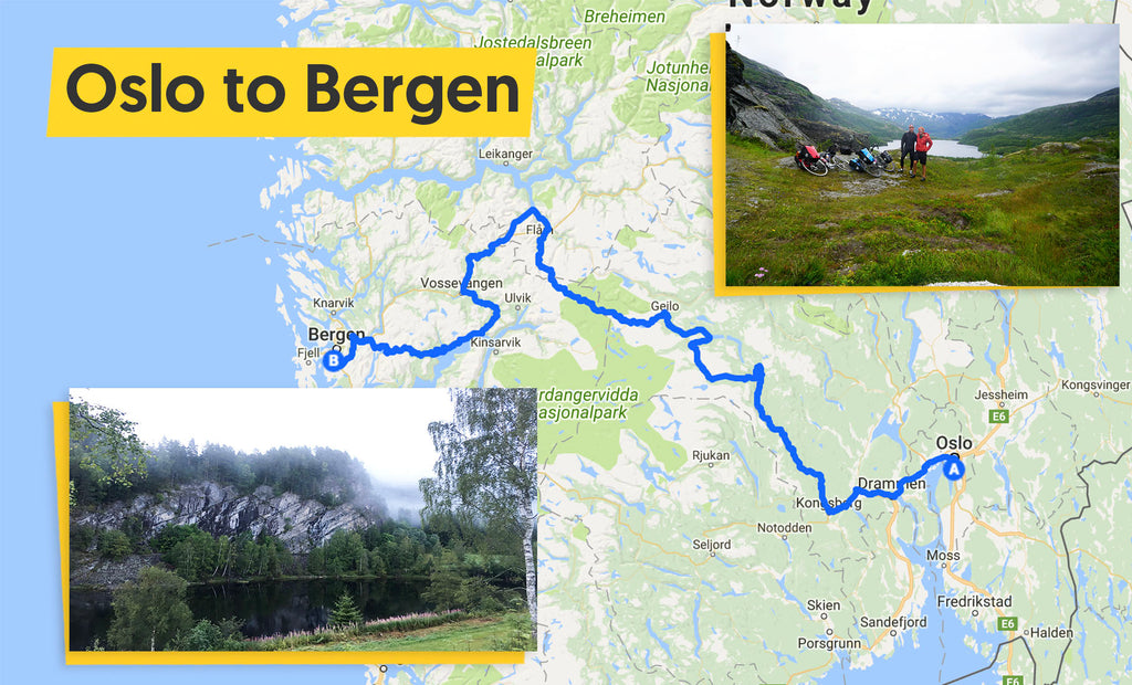 Oslo to Bergen cycle route map