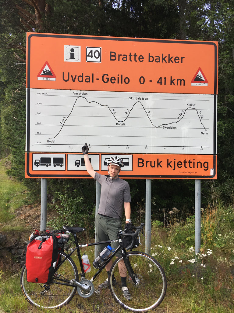 oslo to bergen ultimate trip kyle in front of a sign
