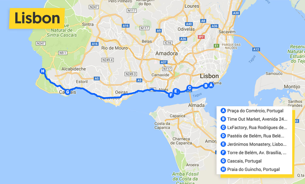 lisbon cycle ride map