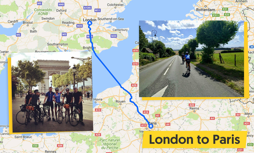 London to Paris cycle route map