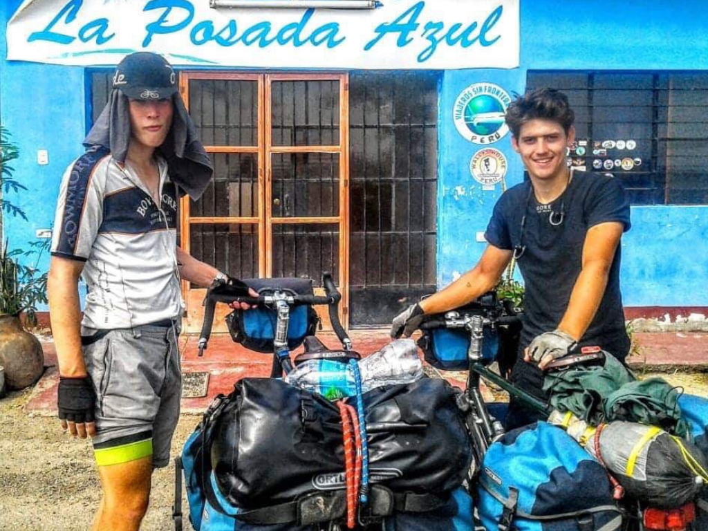 Percy and Charlie in Peru with their bikes