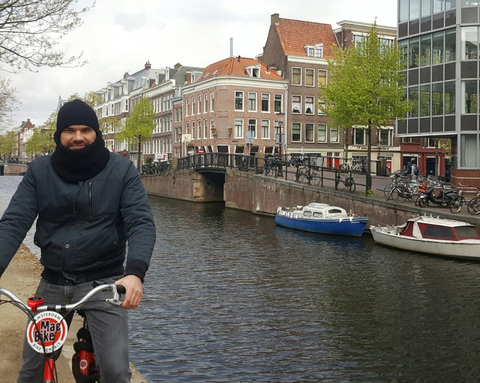 Robert Cycling in Amsterdam Canal Cycle Route Holland