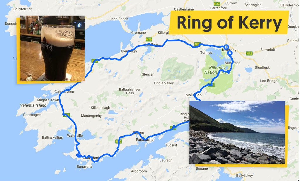 rin of kerry ireland cycling route map