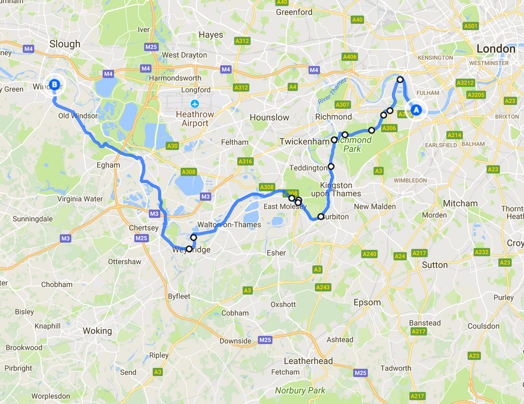 Putney Bridge to Windsor Castle cycle route map