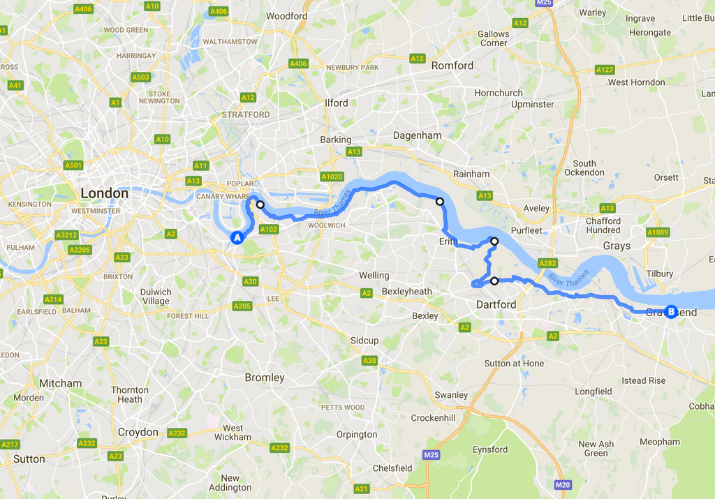 Greenwich to Erith cycling route map