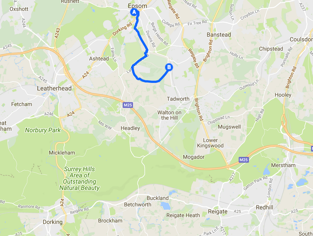Epsom Downs Loop cycle route map