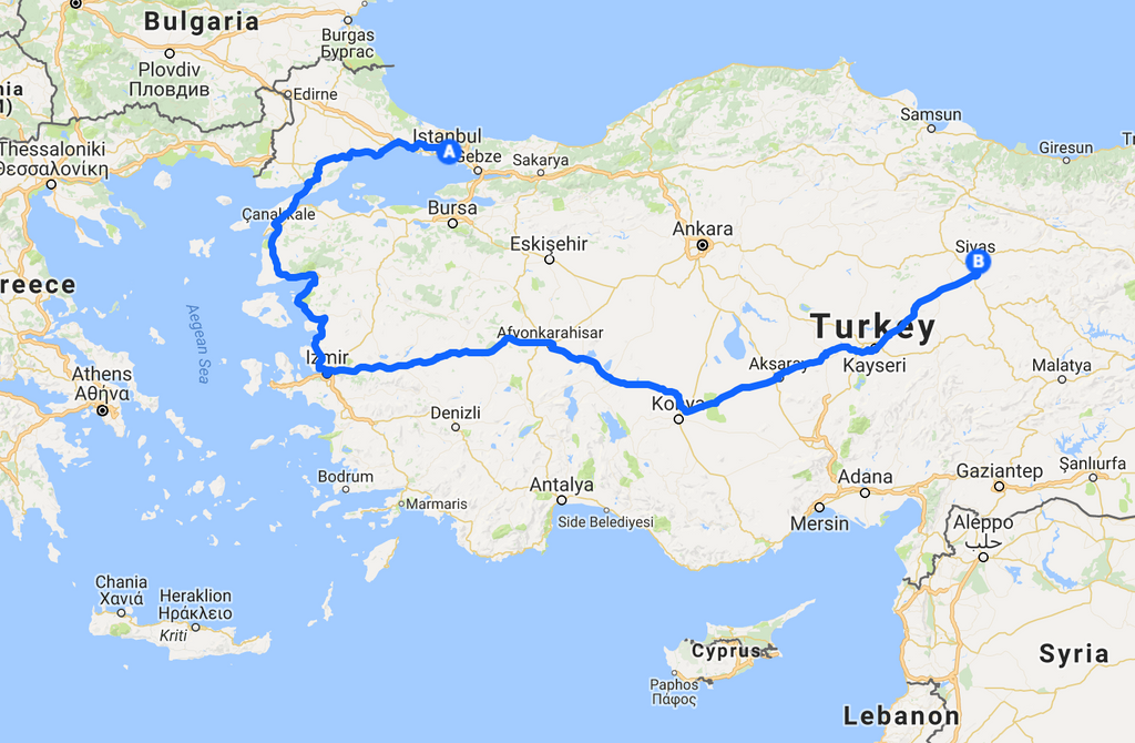 Frances grier map trip turkey