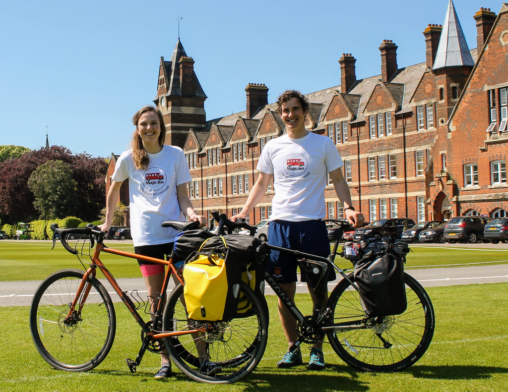verity and joe cycling for the Magic Bus charity