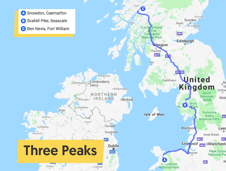 three peaks map ride