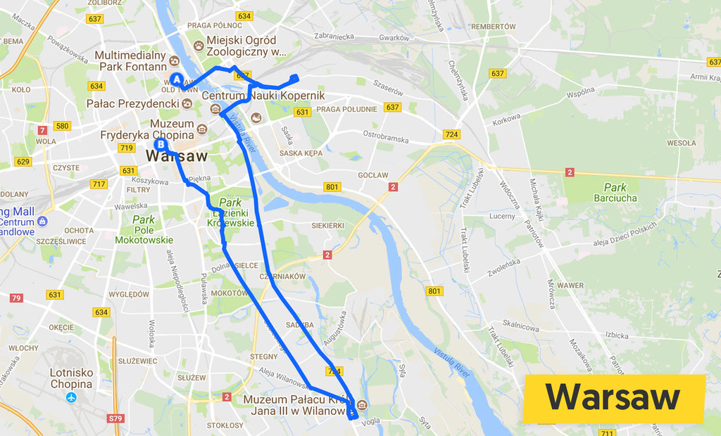 warsaw cycle ride map