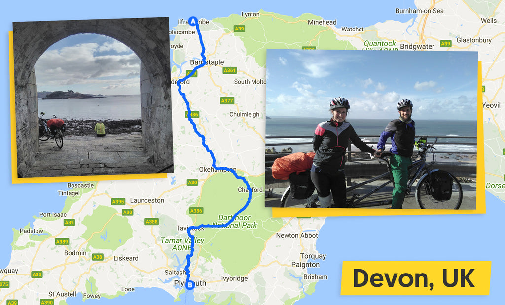 ultimate trip Ilfracombe to Plymouth cycling route map