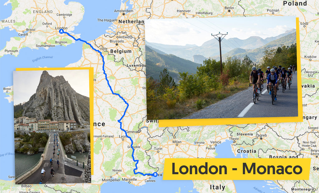London to Monaco cycle route map