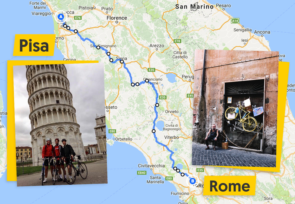 Ultimate Trip Pisa to Rome cycling route map