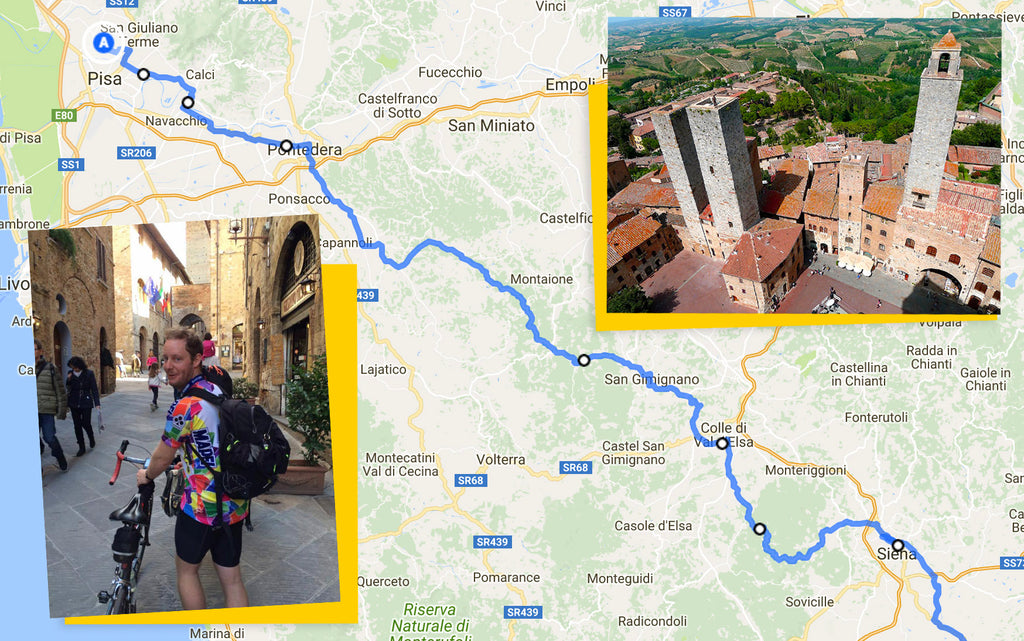 Ultimate Trip Pisa to Rome cycling route map pisa to siena