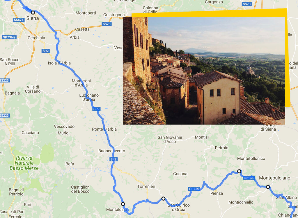 Ultimate Trip Pisa to Rome cycling route map siena to montepulciano via montelcino