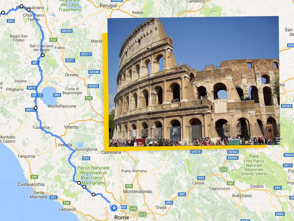 Ultimate Trip Pisa to Rome cycling route map montepulciano to rome