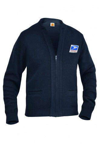 The heavyweight letter carrier cardigan sweater will keep you warm and comfortable.
