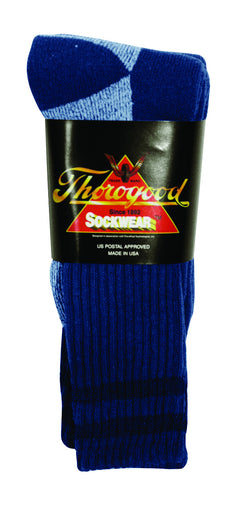 Thorogood 3-Pack Crew Socks Postal Blue with Navy Stripes