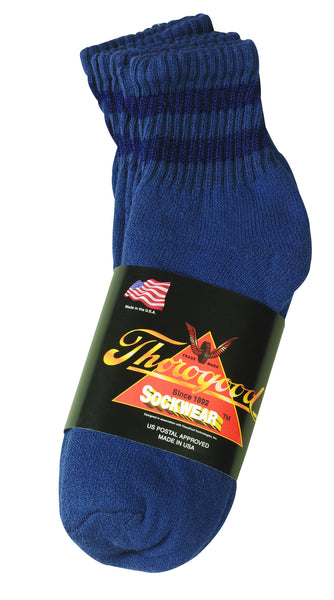 Thorogood 3 Pack Mini Crew Socks Postal Blue with Navy Blue Stripes
