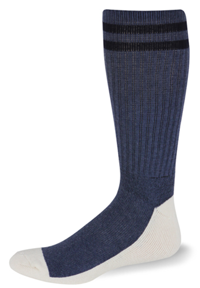 Postal Health Over the Calf Socks Postal Blue with Two Navy Blue Stripes