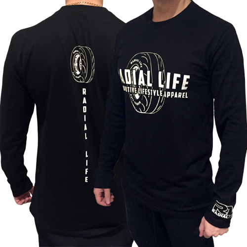 Mens Radial Tyre TShirt Black Long Sleeve