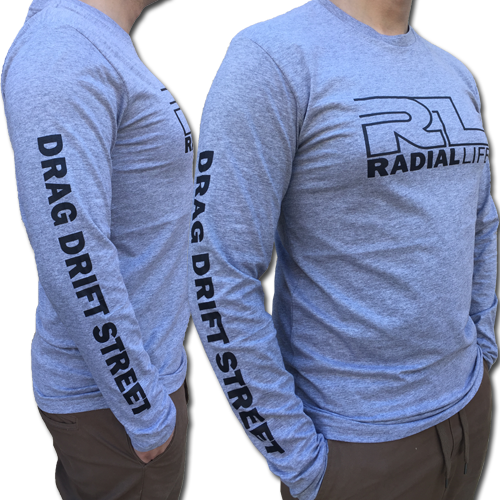 Mens Car TShirt Grey Long sleeve