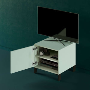 Mueble-de-TV-Cubo-EQUILIBRIO-verde-flexa-open