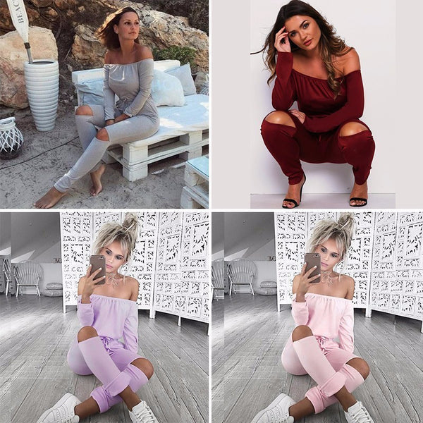 Sexy Off Shoulder Long Sleeve Jumpsuits