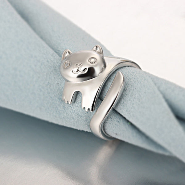 Silver Plated Tiny Cat Ring