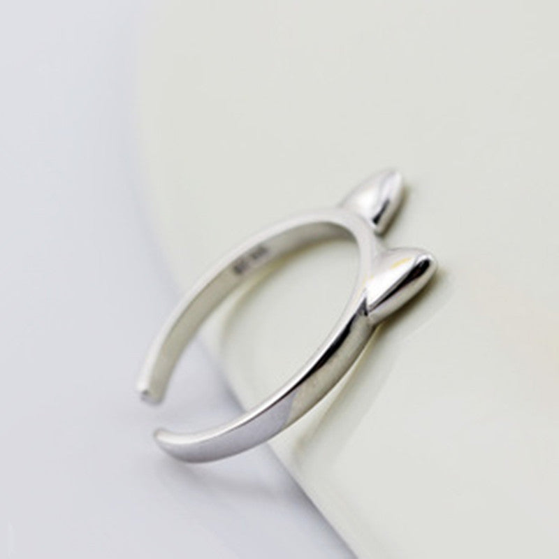 Curious Cat Sterling Silver Ring