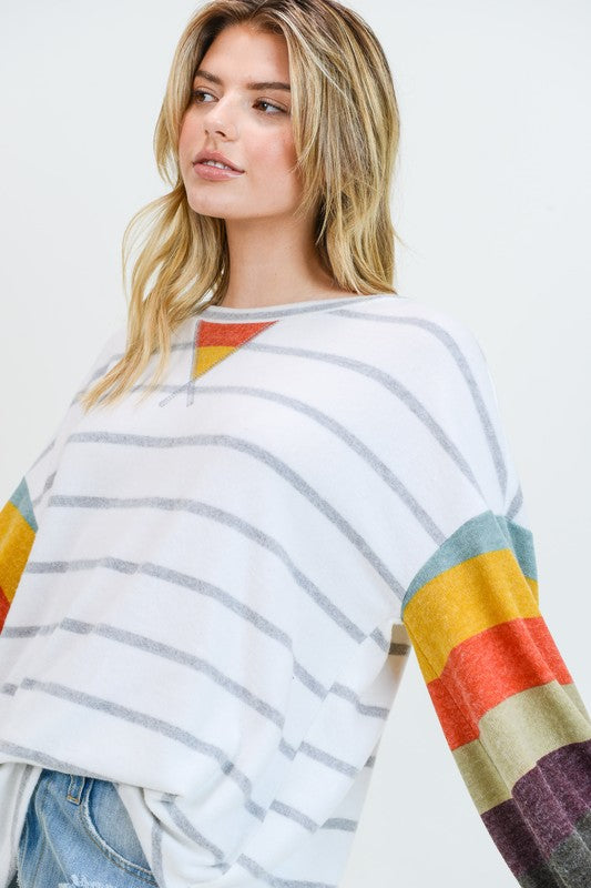 Striped Cashmere Brushed Top