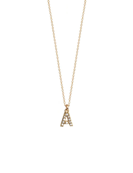 CZ Mini Initial Necklace