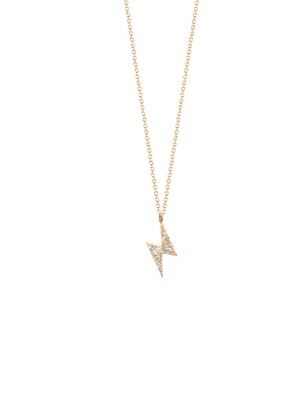 Mini CZ Lightning Bolt Charm Necklace