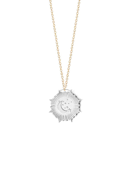 Crescent Moon and Stars Medallion Necklace
