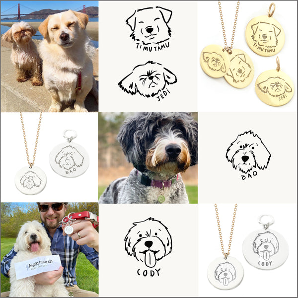 Custom Pet Portrait Necklace and ID Tag