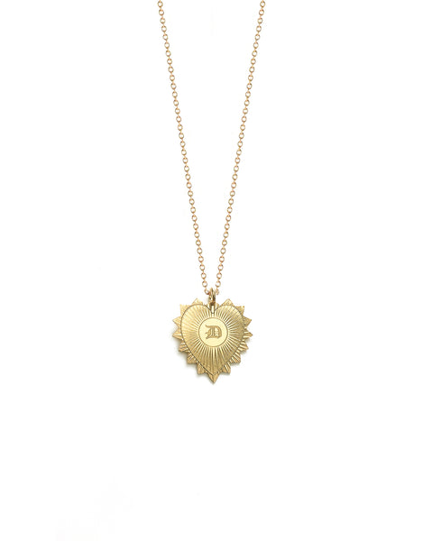 Old London Heart Medallion Initials Necklace