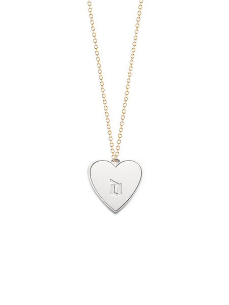 Gothic Heart Medallion Initials Necklace