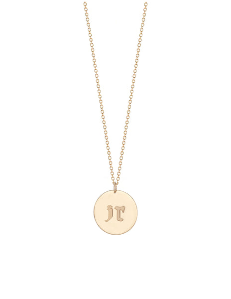 Gothic Initial Charm Necklace