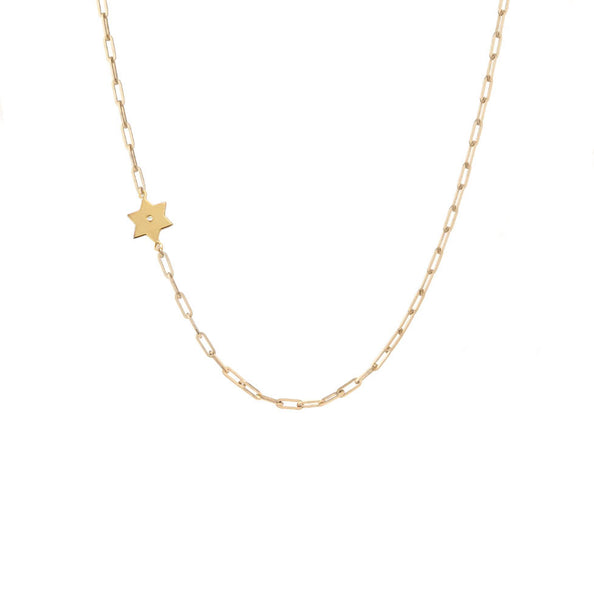 Star of David Diamond Paperclip Necklace