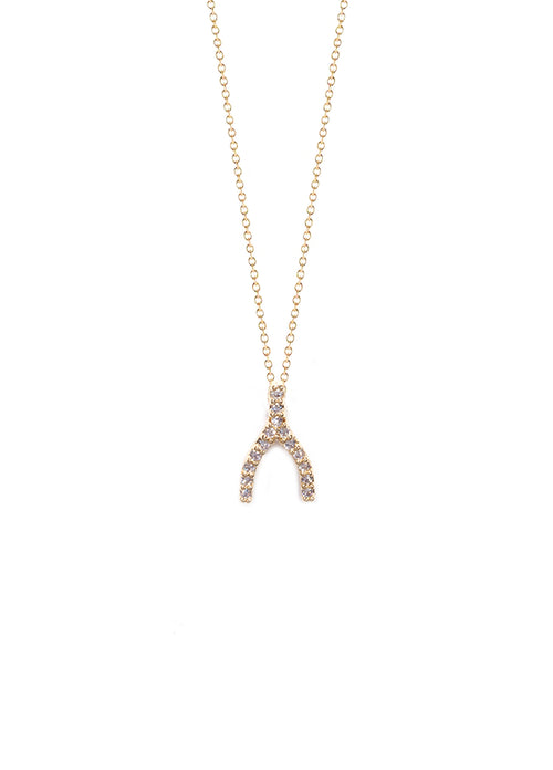 Mini Zirconia Wishbone Charm Necklace