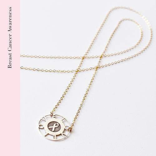 Pink Ribbon II Medallion Necklace