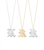 Noah Gothic Initial Necklace