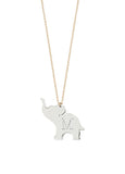 Good Luck Elephant Initial Necklace