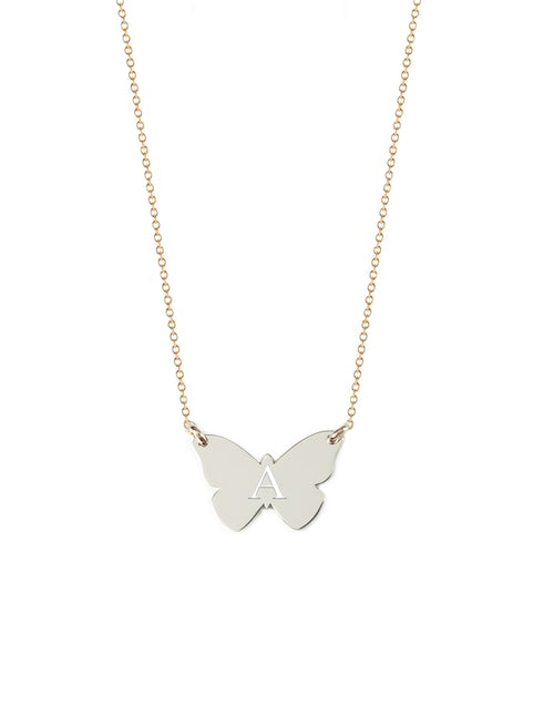 Monarch Butterfly Initial Necklace