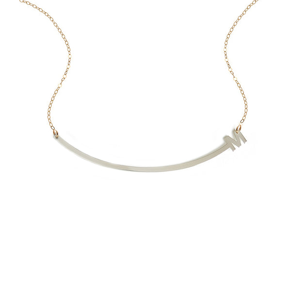 Curved Bar Initial Necklace